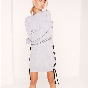 NWT lace up side sleeve sweater dress